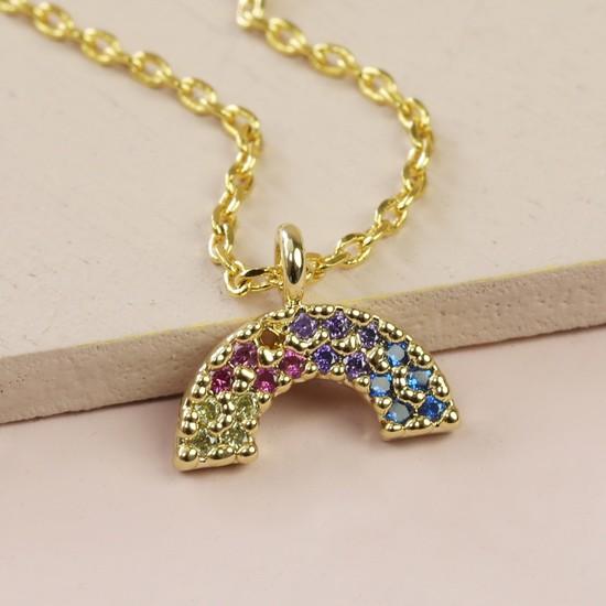 Crystal Rainbow Charm Necklace