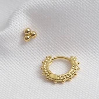 Dotted Hoop and Stud Earrings