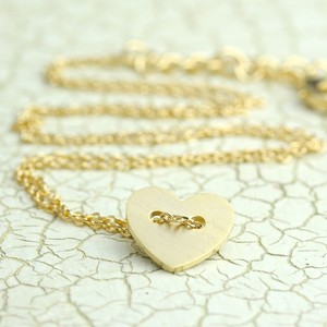 Gold Button Heart Necklace