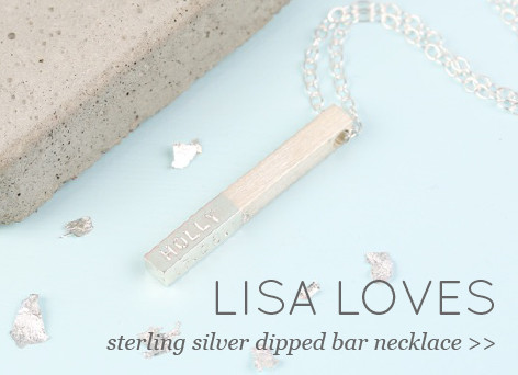 Lisa Loves - sterling silver dipped bar necklace >>