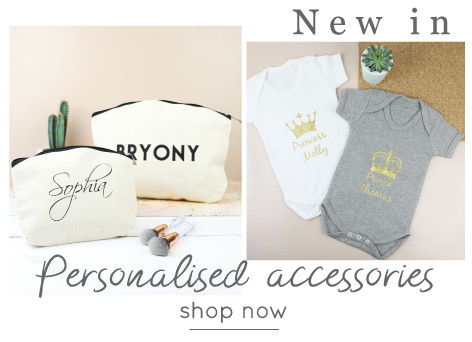 Personalised make-up bag and babygrow - Shop personalised accessories >>