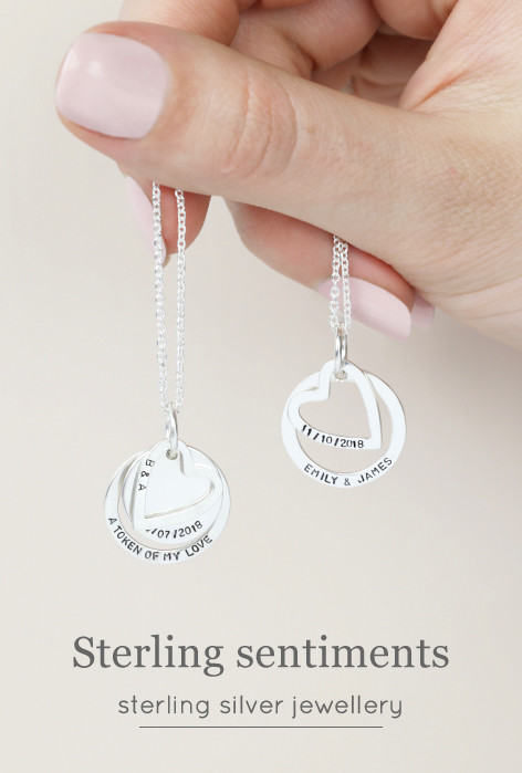 Personalised sterling silver necklaces - shop sterling silver jewellery >>