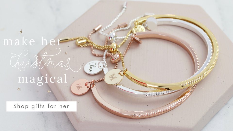 Personalised diamante bangle - Shop Christmas gifts for her >>