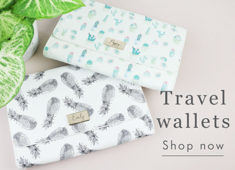 Personalised pineapple or cactus travel wallets - Shop travel wallets >>