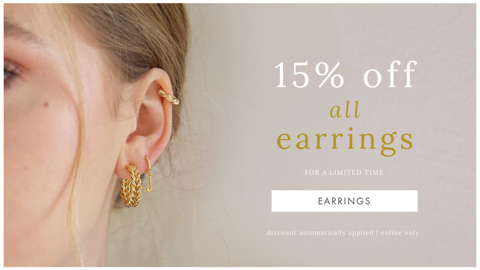 15% off all earrings - Shop discounted earrings >>