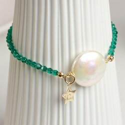 Personalised Coin Pearl Bracelet in Gold