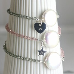 Personalised Coin Pearl Bracelet in Silver