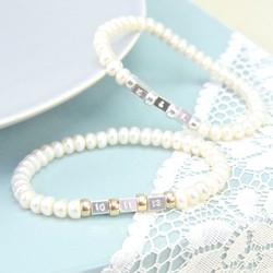 Handmade Button Pearl Secret Message Bracelet