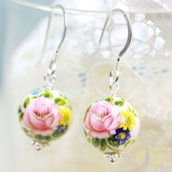 Rose Bead Earrings in White