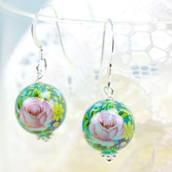 Rose Bead Earrings in Translucent Blue