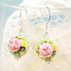 Pearl Rose Bead Earrings