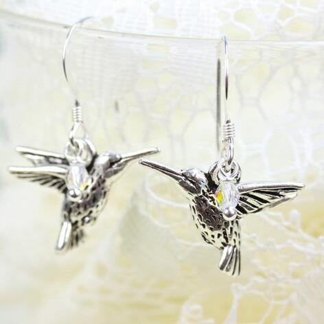 Handmade Silver Hummingbird Earrings