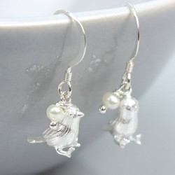 Handmade Silver Songbird Earrings