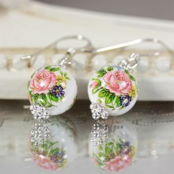 Dainty Rose Bead Earrings in White