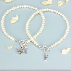 Handmade Seed Pearl Personalised Charm Bracelet