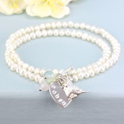Personalised Seed Pearl Wrap Bracelet with Songbird