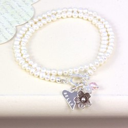 Personalised Seed Pearl Wrap Bracelet with Daisy