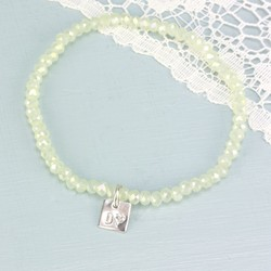 Sparkling Opal Mini Gem Bracelet with Heart, Square or Star Charm