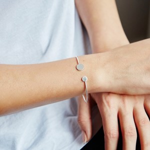 Open Disc Bangle In Silver