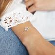 Silver Interlocking Stars Bracelet on Model