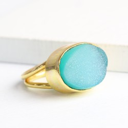 Isla Adjustable Green Druzy Ring