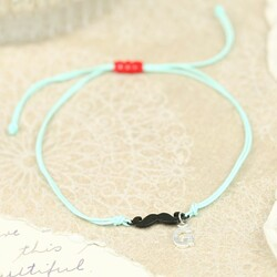 Moustache Cord Friendship Bracelet in Turquoise with Initial