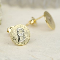 Engraved Initial Gold Scratched Metal Disc Stud Earrings