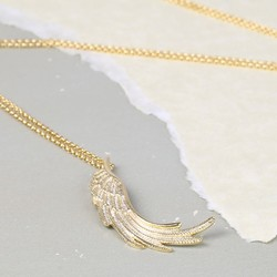 Longline Gold Wing Pendant Necklace