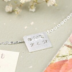 Personalised Engraved Initial Plate Necklace in Silver