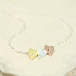 Personalised Three Little Hearts Necklace