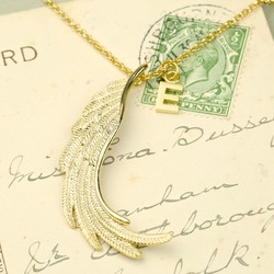 Longline Gold Wing Pendant Necklace with Initial