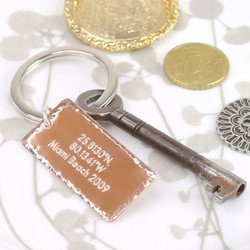 Engraved Co-ordinates Copper Keyring