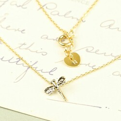 Dainty Gold Dragonfly Necklace