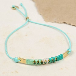 Diamanté Bar Friendship Bracelet in Green