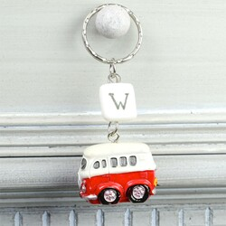 Personalised Camper Van Keyring in Red