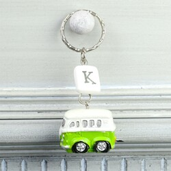 Personalised Camper Van Keyring in Green