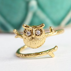 Adjustable Gold Owl Ring