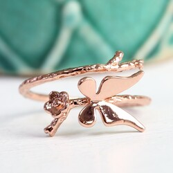 Adjustable Rose Gold Butterfly Ring