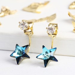Blue Star and Gem Jacket Earrings