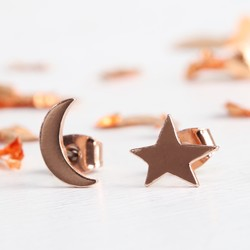 Mismatch Moon and Star Stud Earrings in Rose Gold
