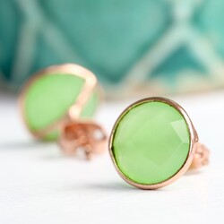 Clare Prehnite Chalcedony Stone & Rose Gold Stud Earrings