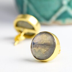 Issy Round Labradorite Stone Stud Earrings