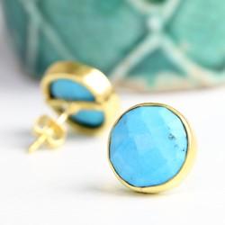 Issy Round Turquoise Stone Stud Earrings