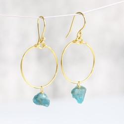 Zoe Hoop Earrings with Blue Apatite Stones