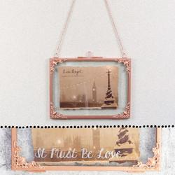Personalised Small Rectangular Hanging Filigree Copper Frame