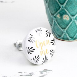 Disaster Designs Penny Black 'Open Me' Drawer Knob