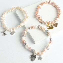 Charmed Freshwater Pearl Bracelet with Initial