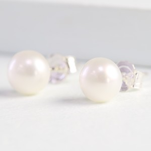Medium Ivory Sterling Silver Freshwater Pearl Stud Earrings