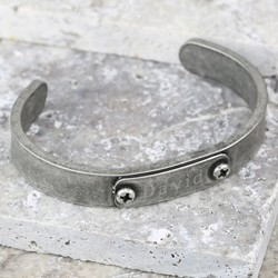 Men's Personalised Antique Silver Plate Cuff