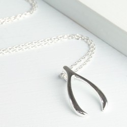 Estella Bartlett Lucky Wishbone Necklace in Silver